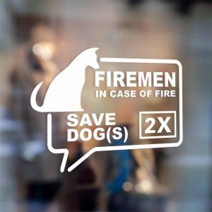 firefighter save our animal door sticker