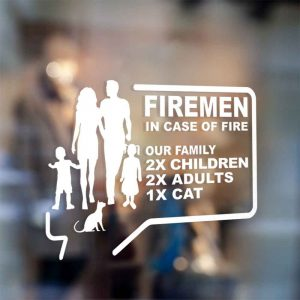 sticker firemen in case of fire save our family